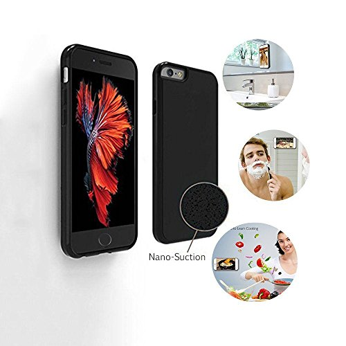 iPhone 6/6s Plus Case, AnsTOP Selfie Magical Sticky Cover, Hands Free Nano Suction Stick to Glass, Tile, Most Smooth Surface for iPhone 6/6s Plus ( 5.5'' black)