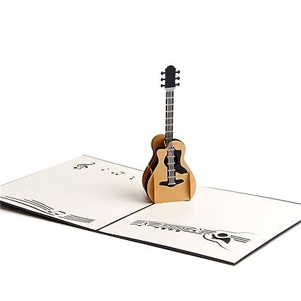 ROSENICE 3D Pop Up tarjetas de felicitación tarjeta de regalo de guitarra para cumpleaños boda Navidad