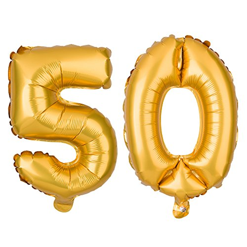 [50 Number Balloons Non-Floating Decoration 50th Birthday or Anniversary Party (16 Inch, Gold)] (Decoration Ideas Party)