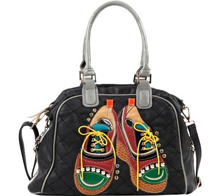 TORI PATCHWORK OXFORDS SATCHEL (BLACK) (Nicole Oxford)