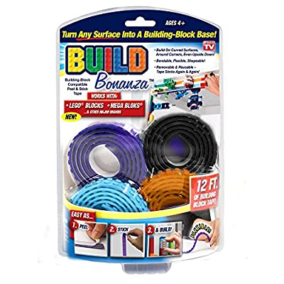 Build Bonanza Self Adhesive Tape Works Building Block Tape, Purple/Black/Turquoise/Orange: Toys & Games