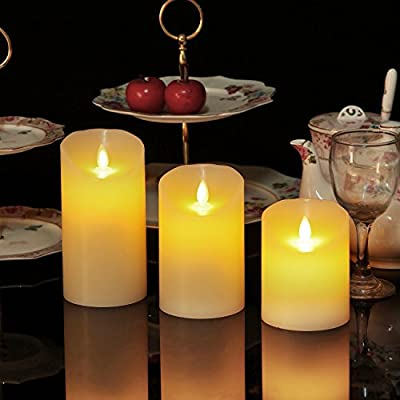 """OShine Flameless Candles,LED Candles Set of 4 5"""" 6"""" H(3.15"""" D) Flickering flame with Remote and Timer Real Wax Pillar 