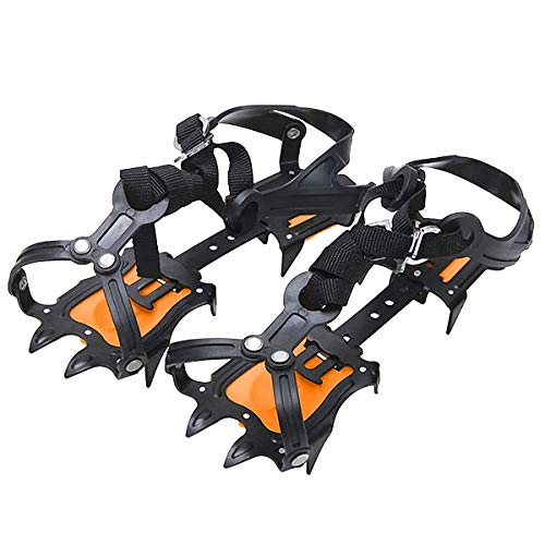 Walsilk Crampons Traction Cleats Spikes Snow Grips,Anti-Slip Stainless Steel Crampons for Mountaineering & Ice Climbing ()