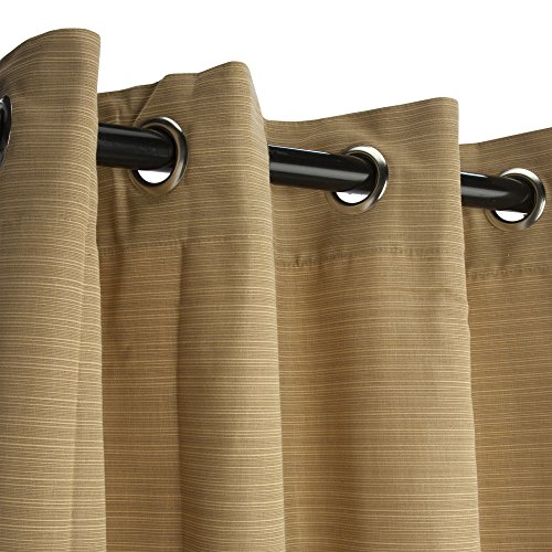 Sunbrella Outdoor Curtain Panel, Nickel Grommet Top, 50 by 84 Inch, Dupione Bamboo (Available in Multiple Colors and Sizes) Includes Custom Storage Bag; Perfect For a Patio, Porch, Gazebo, or (Bamboo Grommet)
