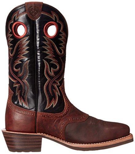 Ariat Mens Heritage Roughstock Western Boot Bar Top Marrone / Nero Lucido