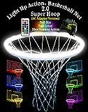 Light Up Action Basketball Net 2.0 Super Hoop Lighting System Full Size Full Color Shot Sensing Action (AC Adapter Version)