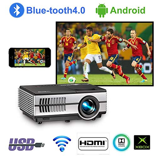 Portable Smart LCD Video Projectors with Wifi Bluetooth HDMI USB, Small Home Wireless Projector with Bluetooth Android OS Apps, Mobile Outdoor Movie Projector for iPhone Mac iPad Xbox PS4 DVD TV (Best Mobile Projector App)