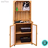 SKEMiDEX--- Potting Bench Cabinet Storage Wooden Garden Shed Tools Organizer Work Station Two doors at the bottom with shelf allow you to create the perfect storage area to meet your requirements.