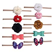 Baby Girls Nylon Headbands Hair Bows Elastic Bands Newborn Infant Toddler Hairbands