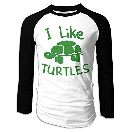 I Like Turtles Costume (Men's I Like Turtles Tri-Blend Long Tee Baseball Shirt Raglan Size XXL Color Black)