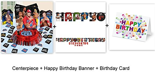 Wrestling WWE Centerpiece Table Decoration (12 PC) Happy Birthday Banner (1 PC) Party Decoration Plus Birthday Card by DPW
