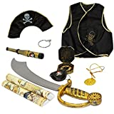 Funny Party Hats Pirate Costume for Kids - 9 Pc Set - Pirate Toys - Pirate Accessories - Dress up Clothes by
