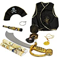 Pirate Costume for Kids - 9 Pc Set - Pirate Toys - Pirate Accessories - Dress Up Clothes by Funny Party Hats
