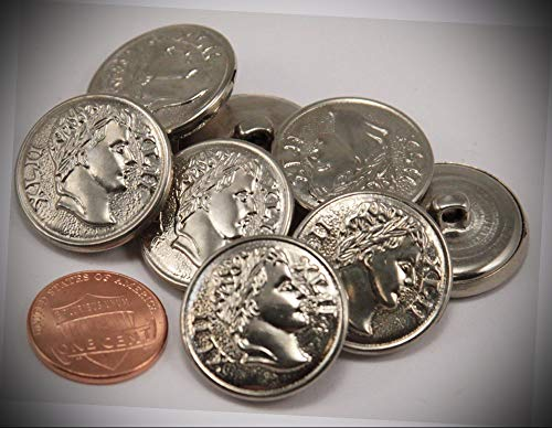 (JumpingLight 8 Puffed Shiny Silver Tone Metal Buttons Roman Ancient Coin Look 7/8'' 23MM 6139 Perfect for Crafts, Scrap-Booking, Jewelry, Projects, Quilts)