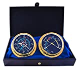 Cabin Gift Set Time & Tide Clock & Comfort Meter by Master-Mariner, Gold finish, Blue flag dial