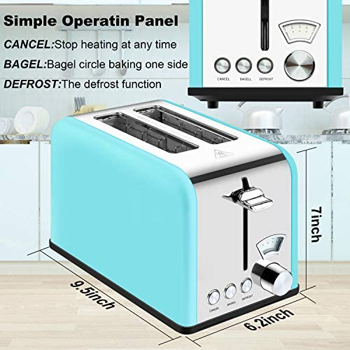 Toaster 2 Slice Best Rated Prime Stainless Steel Toaster Retro Wide Slot Cool Touch Bagel Toasters 5-Bread Shade Settings Removable Crumb Tray Compact Toaster with Pointer Display 5 Shade Settings(Blue, 825W)