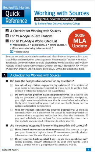 Work with Sources Using MLA with 2009 MLA Update: A Bedford/St. Martin's Quick Reference