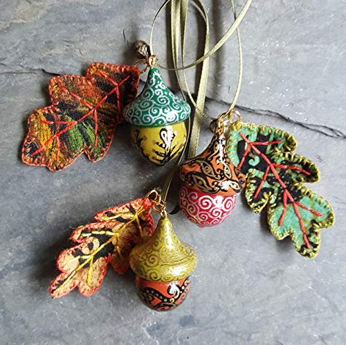 Trio Of Hand Painted Wooden Acorn Hanging Decorations With