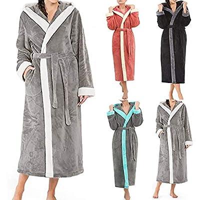 HULKAY Womens New Upgrade Long Sleeved Plush Shawl Bathrobe Slee Thicken Warm Kimono Shawl Collar One Piece Homewear