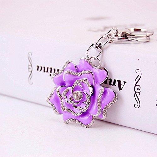 Purple Crystal Purse - Reizteko Blossoming Rose Keychain Sparkling Flower Keyring Crystal Rhinestones Purse Pendant Handbag Charm (Purple)