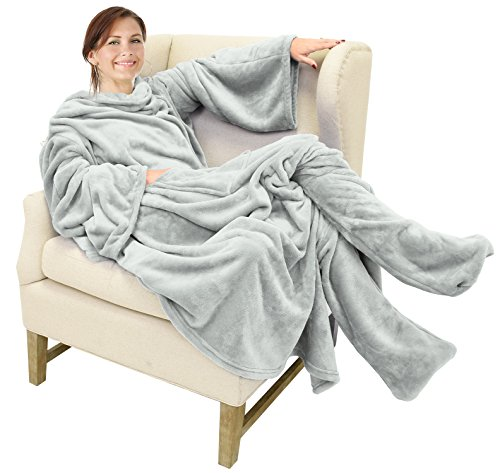 (Catalonia Wearable Fleece Blanket with Sleeves and Foot Pockets for Adult Women Men,Micro Plush Comfy Wrap Sleeved Throw Blanket Robe Large,Grey)