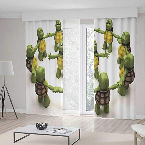 Reptile Blackout Curtain,Ninja Turtles Dancing Tortoise Team Relax Fun Happiness Childhood Kids Print Decorative,Window Drapes 2 Panel Set for Living Room Bedroom,197 W 104 L,Green White Brown for $<!--$163.00-->