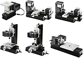 Metal Lathe Tool,12000RPM 6 in 1 Micro Mini Multipurpose Woodworking Lathe Sawing Machine Didactical Tool,Basic Precision Lathe Chuck DIY Grinder Driller Miller Accessories