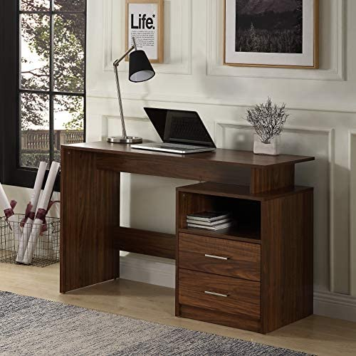 MIERES Computer Wooden MDF Material Writing Study Table with 2 Side Drawers Classic Home Office Laptop Desk, Walnut-AAD