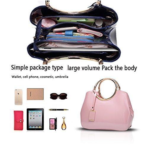 Tisdain Portafoglio delle signore del sacchetto di spalla del sacchetto del messaggero del sacchetto del messaggero della borsa della borsa delle donne Rosa
