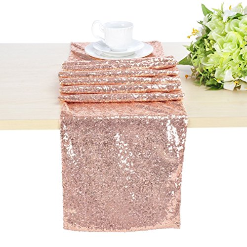 - Sequin Table Runner Rose Gold Sparkly Table Runner Perfect for Wedding Banquet Party Table Decors 12inch x 72inch