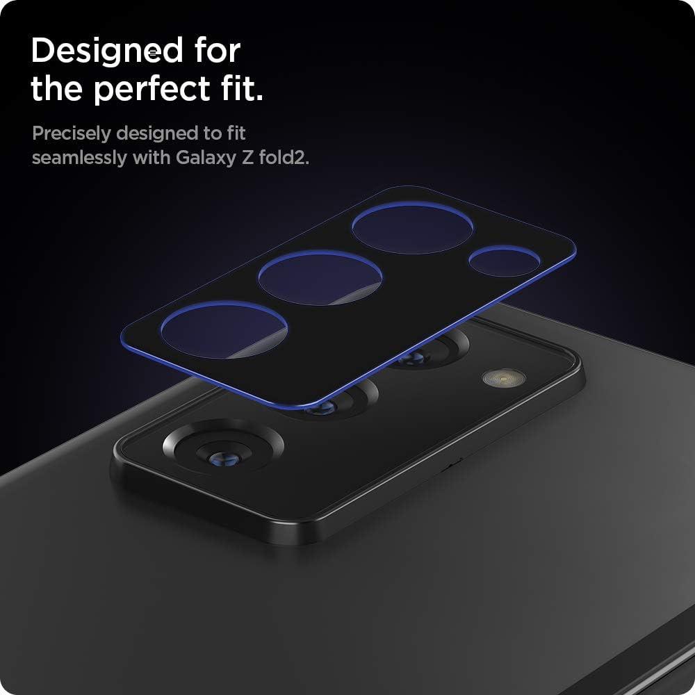 Spigen Camera Lens Screen Protector Glas.tR Optik Tempered Glass Designed for Galaxy Z Fold 2-2 Pack//Black