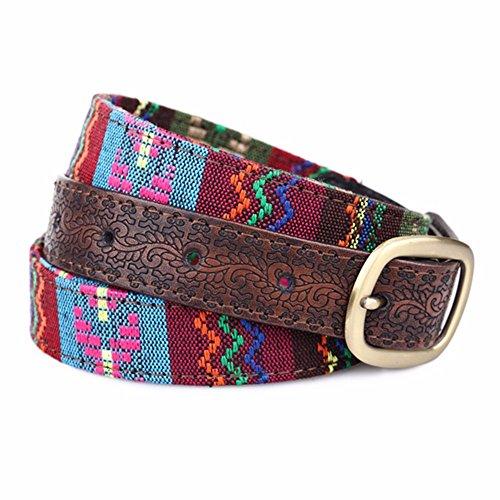 SAIBANGZI Ms Women All Seasons Belt Casual Jeans Belt Fine Fabric Fashion Decorative Belt Girlfriend Present Brown 82-92Cm by SAIBANGZI (Image #7)