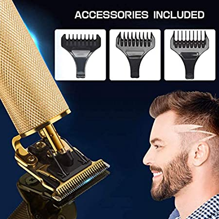 Xnuoyo Electric Hair Clippers, Cortapelos Profesional Hombres, Barbero Electrico Cortapelos, Cortador Pelo Cortadora de Pelo USB Recargable con Cuchillas Afiladas de Larga Duración (gold-1)
