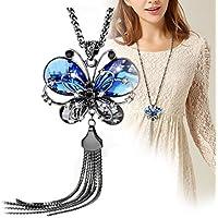 Womens Tassel Necklace Rhinestone Blue Butterfly Pendant Long Chain Divine