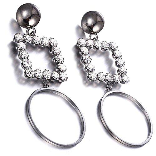 Hooop Earrings (eManco Elegant Rhinestone Geometry Dangle Drop Earrings for Women Fashion Black Copper Hooop Jewelry)