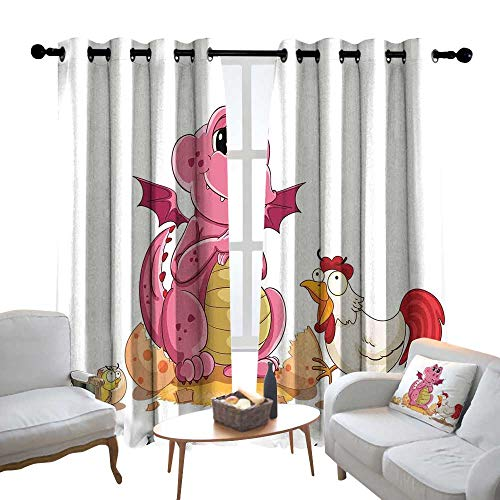 Lewis Coleridge Decor Curtains by Jurassic Decor,Illustration of Hen Chicken and Baby Dinosaur Wings Out from Egg Kids Childrens Print,Wide Blackout Curtains, Keep Warm Draperies, Set of 2 54