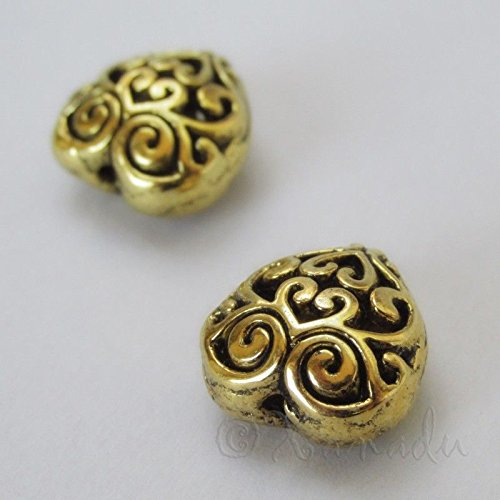 2 Pcs of Puff Heart 13mm Antiqued Gold Plated Filigree Beads