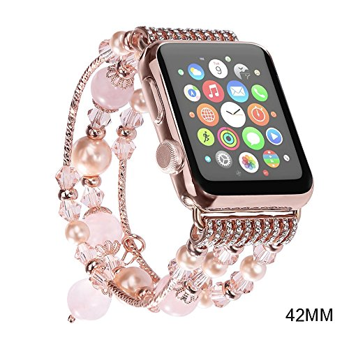 Newest Apple Watch 3/2/1 Replacement Band,JOMOQ Fashion Handmade pearl Beaded Bracelet, Cool Valentines Day Gifts for Women Girls, Apple Watch Series 38mm/42mm