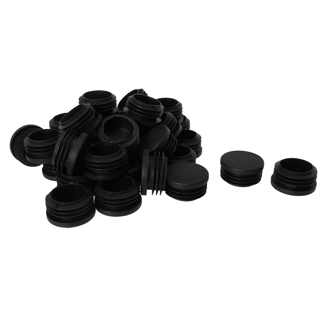uxcell 1 1/2'' 1.5'' OD Plastic Round Tube Insert Glide End Cap Pad 35pcs 1.38''-1.46'' Inner Dia for Deck Table Desk Protector Reduce Noise