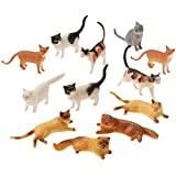 "Assorted Plastic 2"" Cat Figure Toys (12)"