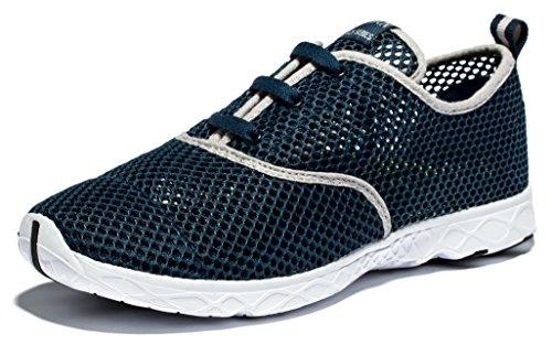 Viihahn Hombres Los Zapatos Del Agua De Malla Transpirable Con Cordones De Secado Rápido Del Negro - azul marino