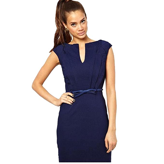 Womens Zipper Stretchy Midi Length Bodycon Fitted Pencil Dress With Belt at Amazon Womens Clothing store: