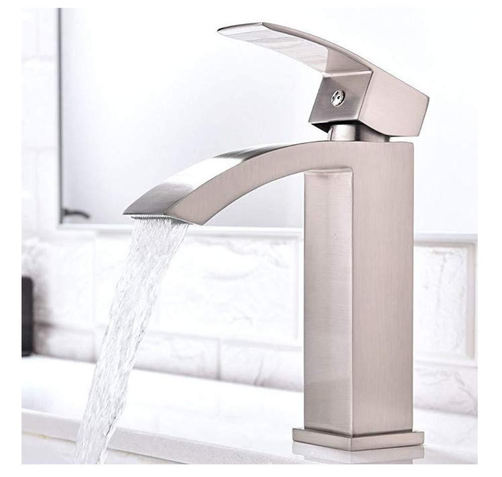 Einhebel Wasserfall Waschtischarmatur Mit Extra Größem Rechteckigemäßuslauf, Nickel Gebürstet