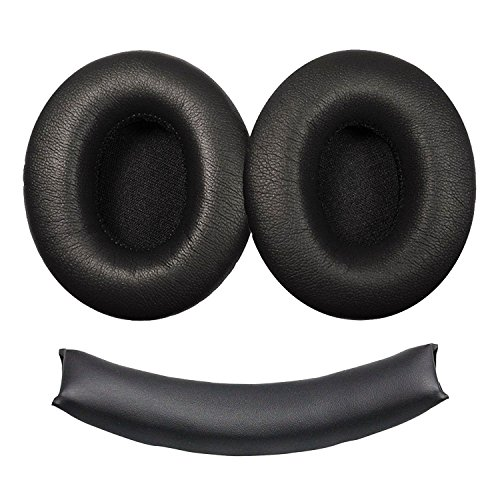 Replacement Leatherette Ear Pads (EEEKit Replacement Ear Pads Earpad Cushion Cup Cover and Headband Cushion for Monster Beats Dr. Dre Studio 1.0 Headphones)
