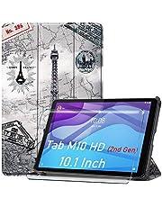 HYMY Lenovo Tab M10 HD 2nd Gen TB-X306F TB-X306X fodral + 1Pcs skärmskydd för Lenovo Tab M10 HD 2nd Gen TB-X306F TB-X306X Folio fodral - Flip fodral Premium Leather Folio fodral