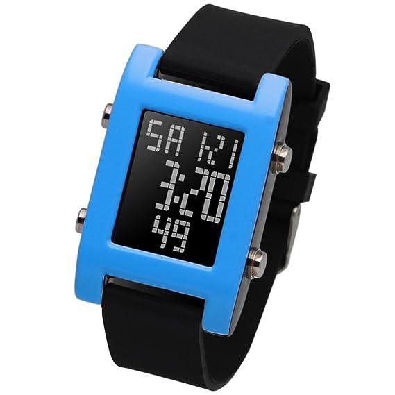 Relojes multifunción para niños impermeable luminoso reloj deportivo digital relojes de estudiante-E: Amazon.es: Relojes