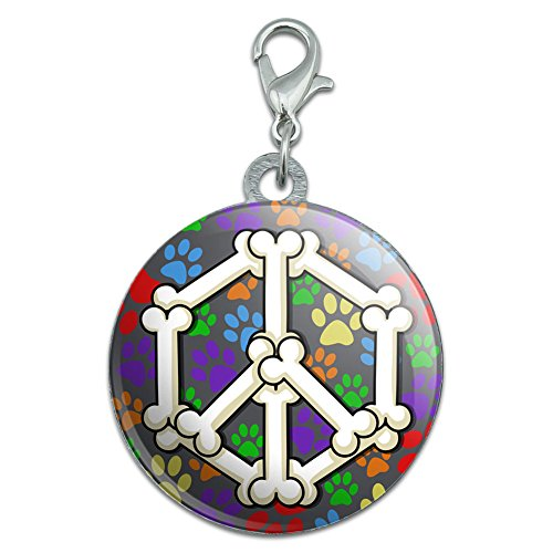 - Dog Bone Peace Sign Stainless Steel Pet Dog ID Tag