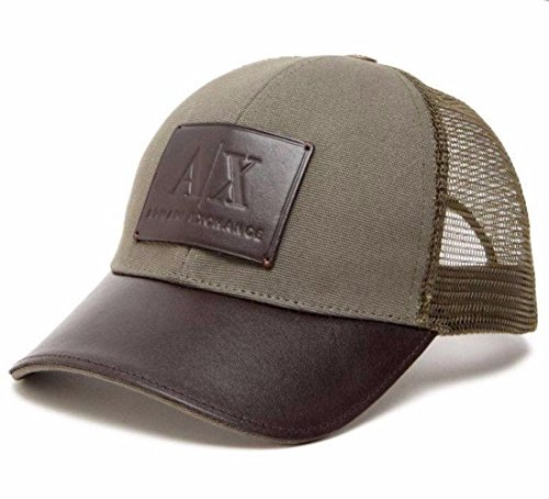 A|X Armani Exchange Armani Exchange Aix Men's Logo Patch Mesh Trucker Hat Cap in Army - Aix Armani