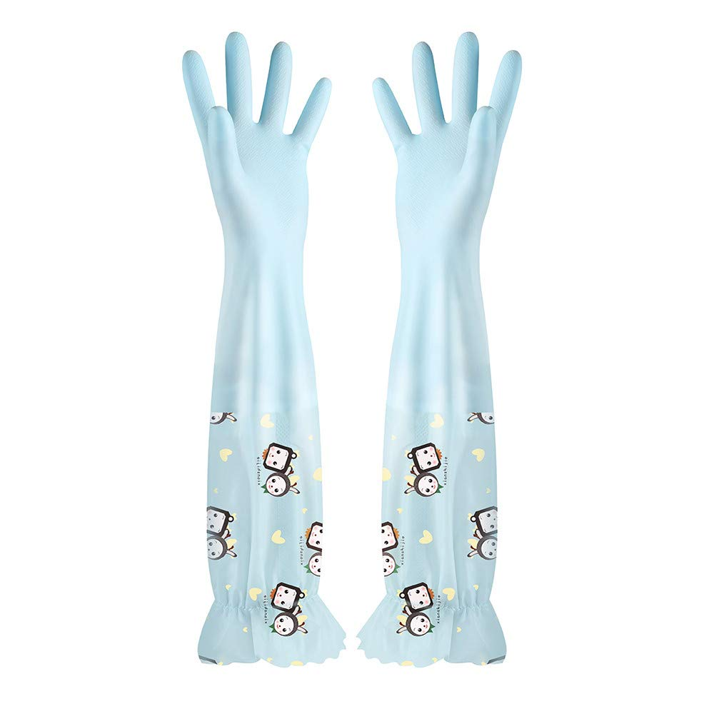 LiPing Waterproof Velvet Gloves Wash Dishes Dishwashing House Cleaning - Medical Grade, Powder-Free, Latex Rubber Free, Non Sterile, Food Safe, Textured (Light Blue)