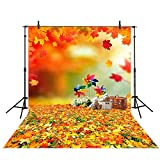 Allenjoy 5x7ft Polyester Autumn Backdrop Childhood Memories upon Golden Leaves Bokeh Background for Photography or Decoration